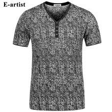 E-künstler männer V-ausschnitt Kurzarm Bambus Muster T-Shirts Männer Slim Fit Casual Sommer Baumwolle Tees Tops Plus größe 5XL T37