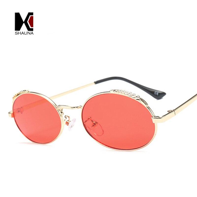 SHAUNA Feuille De Mode Décoration En Métal Cadre Femmes Ovale lunettes de Soleil Rouge Teinté Objectif Shades UV400