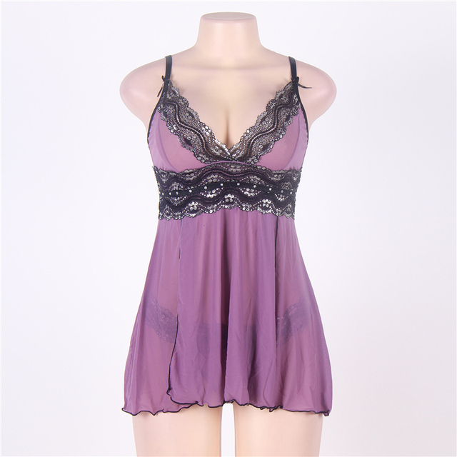 Sexy Dress Erotic Split Lingerie Plus Size M XL 3XL 5XL Purple High Waist Summer Sexy Babydoll Women Lingerie R79991 2