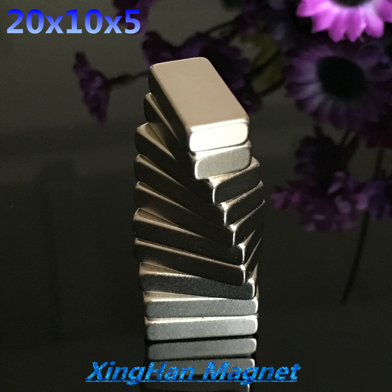 20PCS 20mm x 10mm x 5mm Strong Block Magnets 20*10*5 Rare Earth Neodymium 20x10x5  NEW Art Craft Connection free shipping