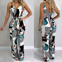 Hirigin Womens Jumpsuit Print Floral Ladies Summer V Neck Strappy Beach Wide Leg Holiday Playsuit women summer beach holiday floral print jumpsuit strappy spaghetti strap deep v neck loose playsuit long pants split jumpsuit