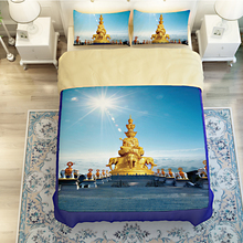 Buddha and Elephant Sculpture Landscape Bluesky Sunshine Bedding Sets Twin Queen King Size Duvet Cover Bed Covers Bed in a Bag
