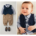 2016 children fashion spring baby boys clothing sets Shirt pants vest 3pcs gentleman clothes sets boys spring set