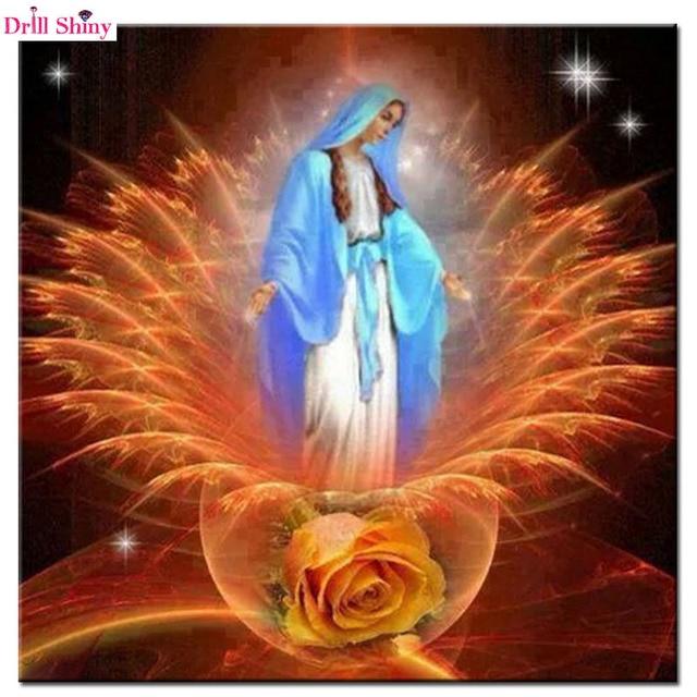 Peinture en mosaïque ronde de style la vierge | 5D bricolage, peinture en diamant, point de croix, décoration murale de la vierge, marie russe