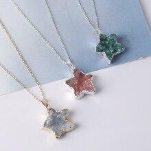 1PCS Star Shape Pendulum Natural Druzy Crystal Quartz Pendant Stone Plating Silver Women For Jewelry Making