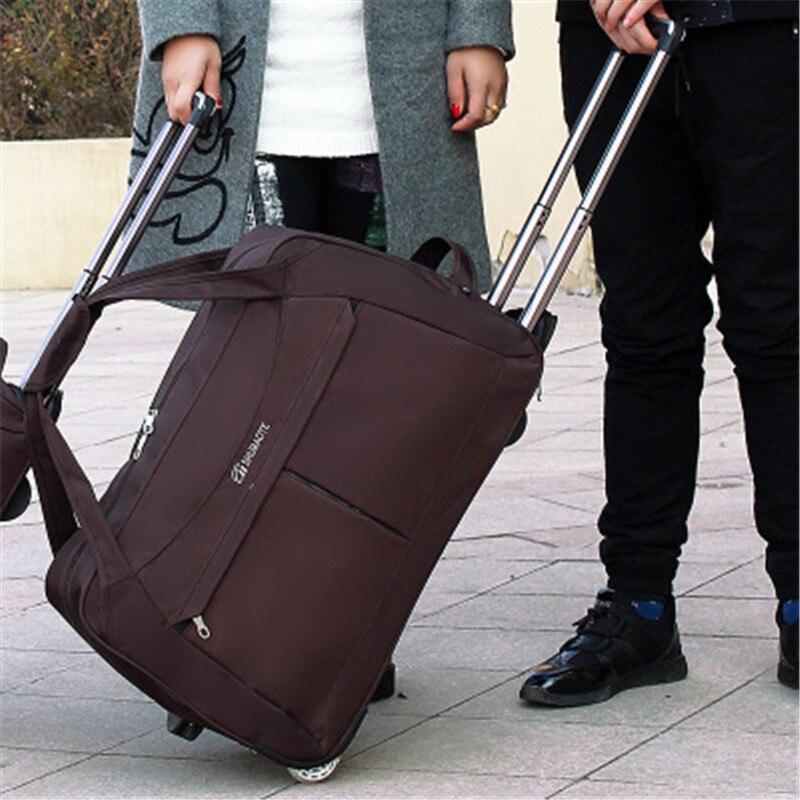 Grand sac de chariot à bagages de roue de taille sacs de voyage de femmes sac unisexe de chariot à main sacs de voyage de grande capacité valise à roulettes