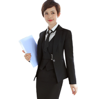 3 Pieces Set Women Suits Fashion Business Formal Slim Long Sleeve Blazer With Office Uniform Dress