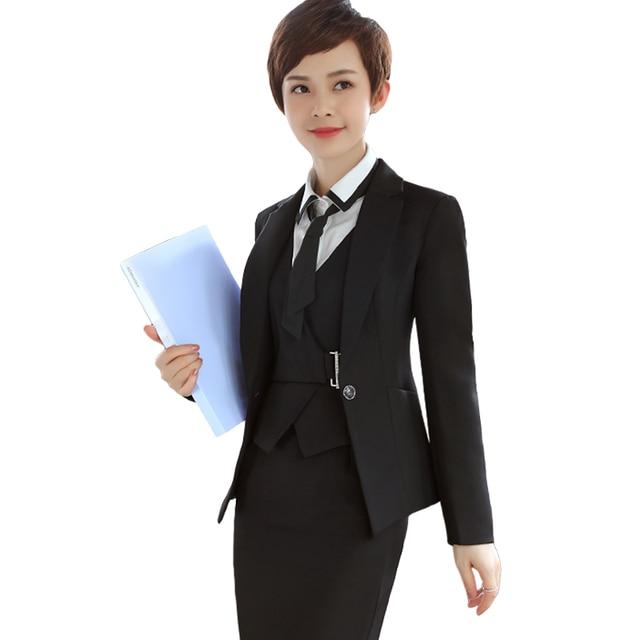 9caed8820f5e7 3 stücke frauen anzüge mode-business formale dünne lange hülse blazer mit  büro uniform kleid