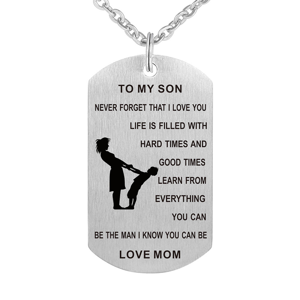 Stainless Steel Mother and Son Jewelry Carved Words Mom ...