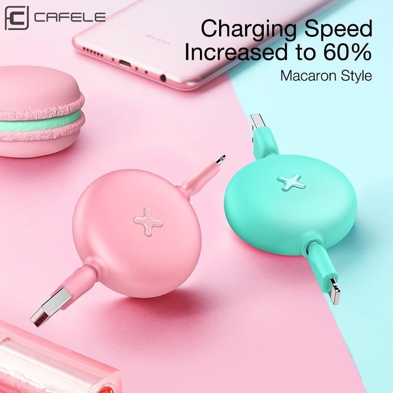 CAFELE Trækbart kabel til iphone X Xr Xs Max 8 7 Candy farver Hurtig opladning Flad Usb-kabel Oplader Datasynkronisering IOS 12 11