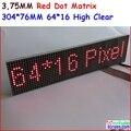 P3.75 матричный светодиодный модуль, 3.75 мм высокий ясный, top1 для отображения текста, 304*76 мм, 64*16 пикселей, красный monochrom матричный панели