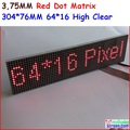 P3.75 dot matrix led module,3.75mm high clear,top1 for text display,304* 76mm,64 * 16 pixel, red monochrom dot matrix panel