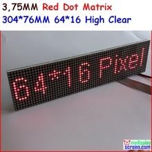 Р3.75 матричный светодиодный модуль 3.75 мм высокая ясно,топ1 для отображения текста,304* 60 мм,64 * 16 пикселей, панель красный монохром