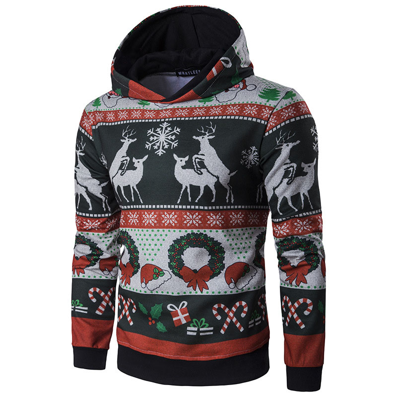 Mens Hooded Christmas Sweatshirts Printed Reindeer Elk Snowflake Hoodie Casual Silm Fitted Pullovers For Male 2019 Spring