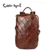 Cobbler Legend 2019 New Vintage Brown Genuine Cowhide Leather Mens Backpacks Computer Shoulder Bag For Men Business Travel Bags
