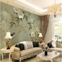 Custom Photo Wallpaper High Quality Silk Cloth Wallpaper Delicate Flowers Retro American Large Mural Wall Paper