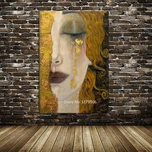 High quality Canvas Painting Oil painting Reproductions Golden Tears by Gustav Klimt for Bedroom hand painted