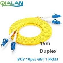 15 m LC UPC ไฟเบอร์ออปติก Duplex 2.0 มม. PVC Optical จัมเปอร์เดี่ยวโหมด FTTH Fiber Patch Cable ขั้วต่อ LC Patchcord