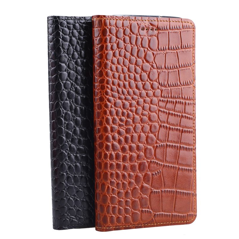 Hot Genuine Leather Crocodile Grain Magnetic Stand Flip Cover For Asus ZenFone Zoom ZX551ML Luxury Mobile