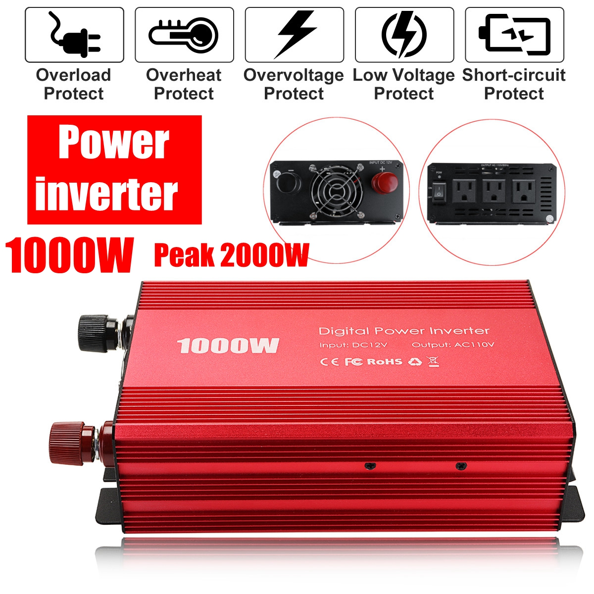 Inverter 12V to 110V 1000W 2000W Peaks Car Power Inverter Voltage Transformer Converter Charger Solar Inversor 12V 220V car inverter 12v 220v power inverters voltage transformer converter 12 220 1000w charger on display solar adapter 12v 220v dy104