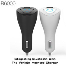 Fineblue r6000 pantalla led bluetooth auricular inalámbrico bluetooth para auriculares y cargador de coche cargador del teléfono del coche 2 en 1 controlador de auriculares