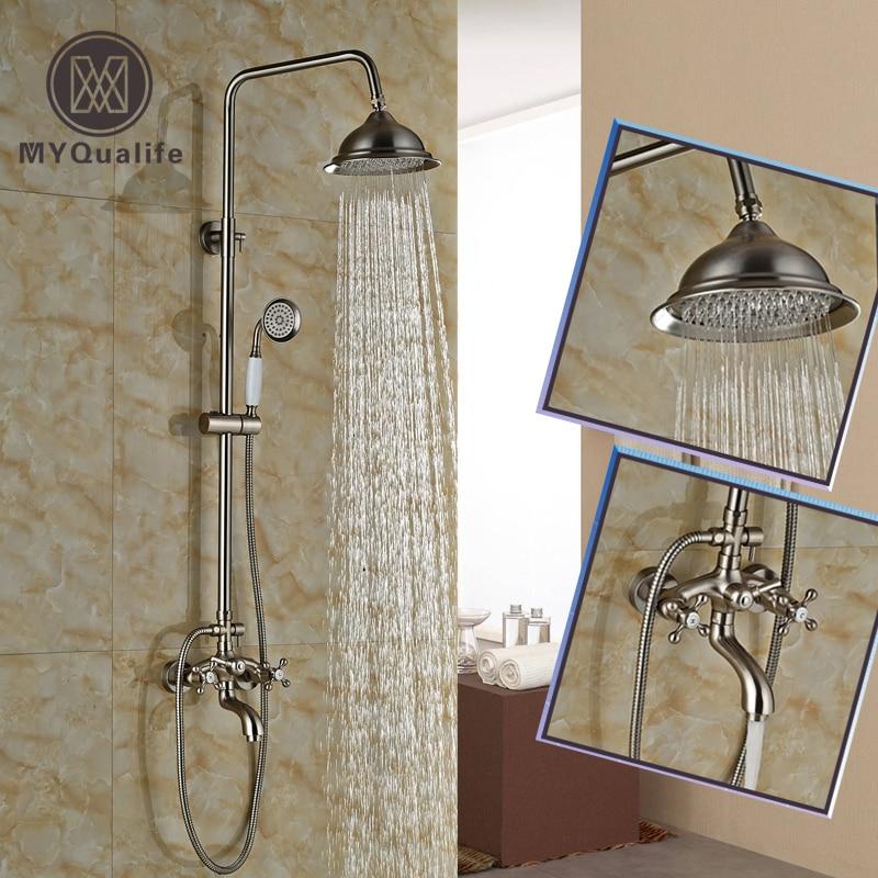 Nickel Brushed Bathroom Shower 8 Rainfall Shower Head Shower Faucet Mixer Set Dual Handle + Tub Spout + Hand Held Shower