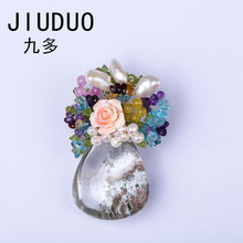 JIUDUO Brooches And Pins Brooch Chain Scarf Pin Clothing Decoration suits rose brooches pins gold chain tulip pins crown long chain with windmill shape brooches pin