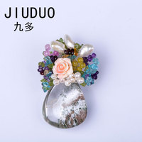 JIUDUO Brooches And Pins Brooch Chain Scarf Pin Clothing Decoration suits rose brooches pins gold chain tulip pins crown