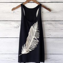 Tank Top Women Summer 2019 Feather Printed Backless O Neck Sexy Tops For Women Clubwear tops mujer verano 2019(China)