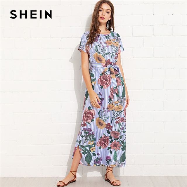 b75f3300ddd3 SHEIN Multicolor Vacation Boho Bohemian Beach Floral And Striped Curved Hem  Belted Dress Summer Women Weekend