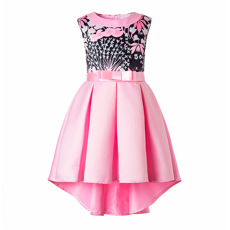 2018  Girls Dress Floral Printed Dress For Girls Summer Girl Party Dresses Toddler Kids Girls Clothes 2 3 4 5 6 8 9 10 Year baby girls white dresses for wedding and party wear girl princess dress kids lace clothes children costume age 3 4 5 6 7 8 9 10