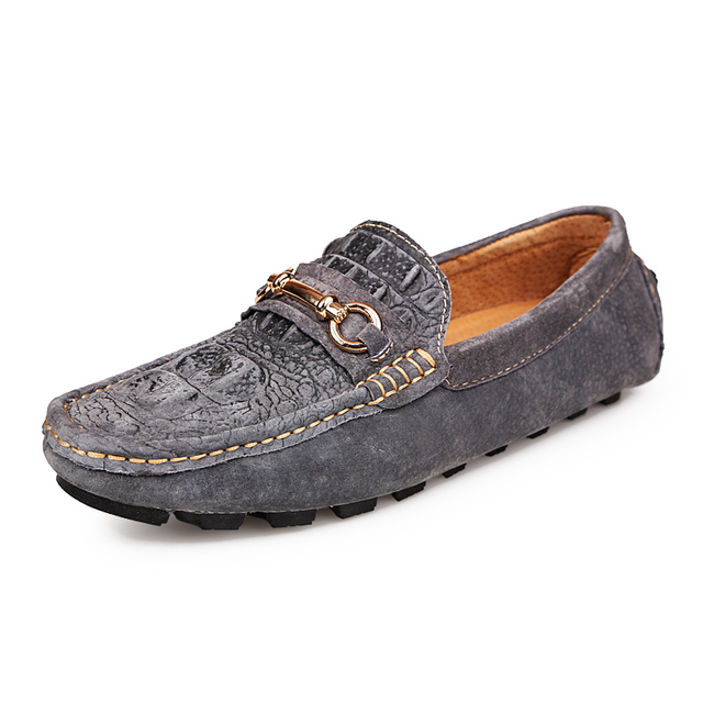 Crocodile Leather Men Shoes Casual Suede Loafers Shoes Men Embossed Driving soft Slip On Vintage High Quality