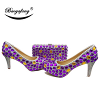 BaoYaFang New Women wedding shoes and bags High heels platform shoes Ladies Paty shoes woman Purple Gold crystal shoe and purse