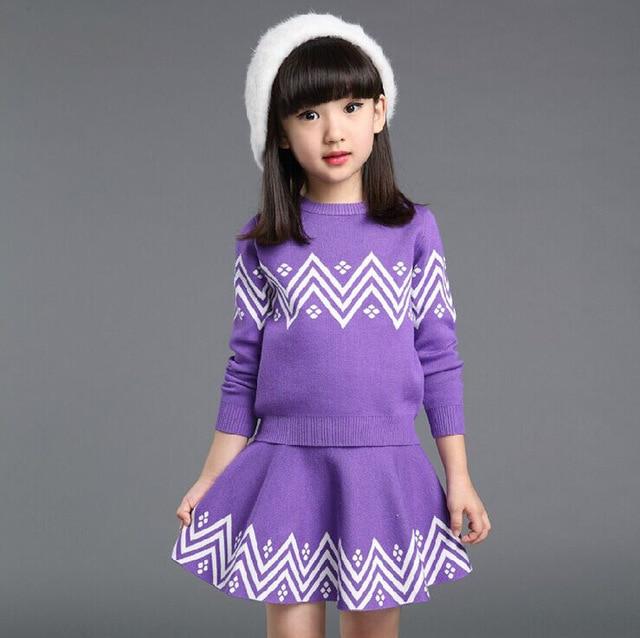 2016 Autumn Winter Hot Fashion Girls Sweater Suits High Grade  Child Knitwear Exquisite Printing Kids Skirt Sweater Set