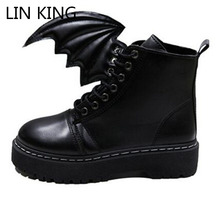 LIN KING New Arrival Women Martin Boots Round Toe Thick Sole Lace Up Wing Shoes PU Solid High Top Little Devil Leisure Boots