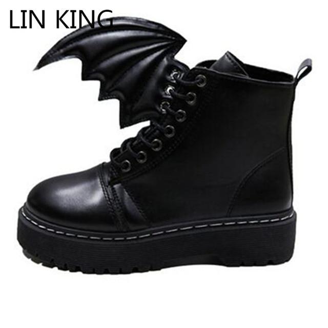 LIN REY Nuevo Mujeres de la Llegada Martin Botas de Punta Redonda Suela Gruesa Lace Up Zapatos Ala PU Solid High Top Pequeño Diablo de Ocio botas