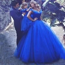 Ходить рядом с вами ярко-синего цвета для девочек в цветочек платья Золушки бальное платье для детей, платье с открытыми плечами с украшением в виде кристаллов нарядные вечерние Святое Причастие