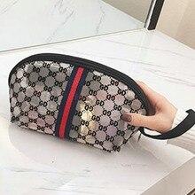 Cosmetic bag mesh flocking handbag South Korea new womens cosmetics storage mobile phone purse