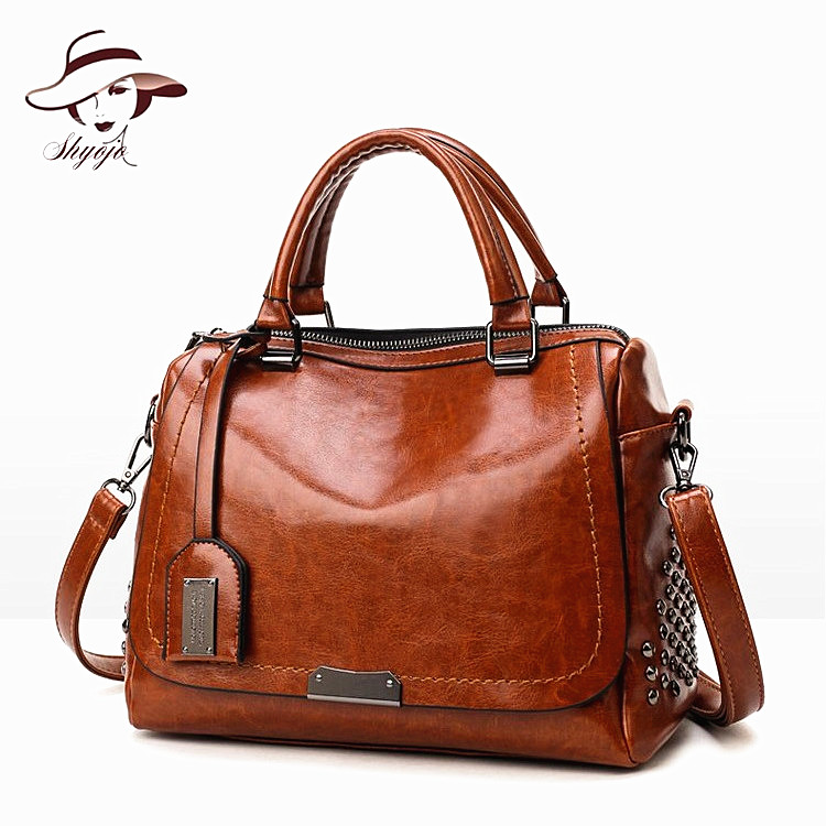 Famous Brand Designer Oil Wax Leather Women Handbags Fashion Shoulder Bags Rivet Sequined Ladies Messenger Bag Female Travel Bag kajie famous brand designer backpack for women 2018 retro genuine leather female back pack oil wax cow leather ladies travel bag