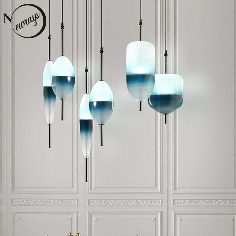Us 65 44 30 Off Modern Creative Teardrop Shaped Blue Glass Pendant Light Led Art Deco Nordic White Hanging Lamp For Living Room Kitchen Bedroom In
