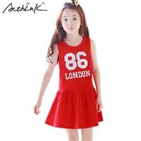 ActhInK New Girls Summer Letter Cotton Sports Dress Kids Backless Red Frocks Girls Korean Clothes Sleeveless
