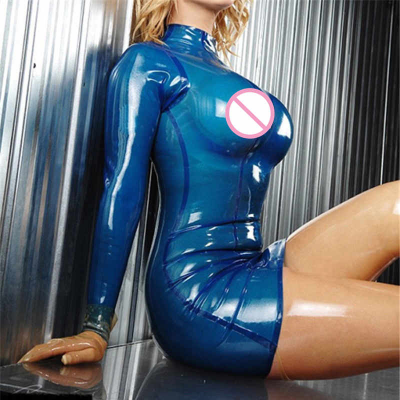 Sexy  Latex Women Dress Slim Transparent Blue Rubber Vestidos