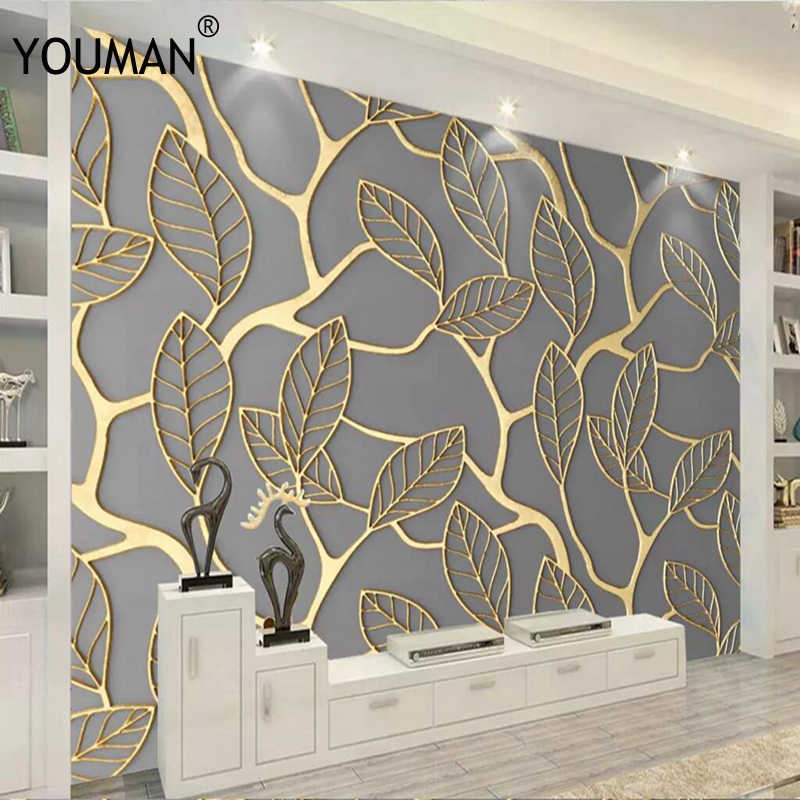 3d Hd Modern Custom Photo Wallpaper Abstract Home Background Wall Mural Gold Watercolor Forest Wallpaper For Living Room Bedroom