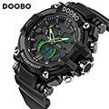 DOOBO Brand Men's Dual Display Waterproof Sports Watches Men Quartz LED Digital Watch Military Wristwatch Male relogio masculino