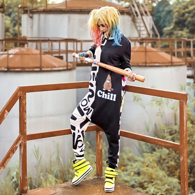 Hot Sale Hip Hop Street Rompers Womens Jumpsuit Black Harajuku Print Halloween Cute Body ...