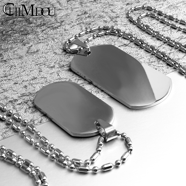 Details about  /Hot Military Dog Tag Mens Stainless Steel Pendant Ball Bead Chain Necklace YJCWI