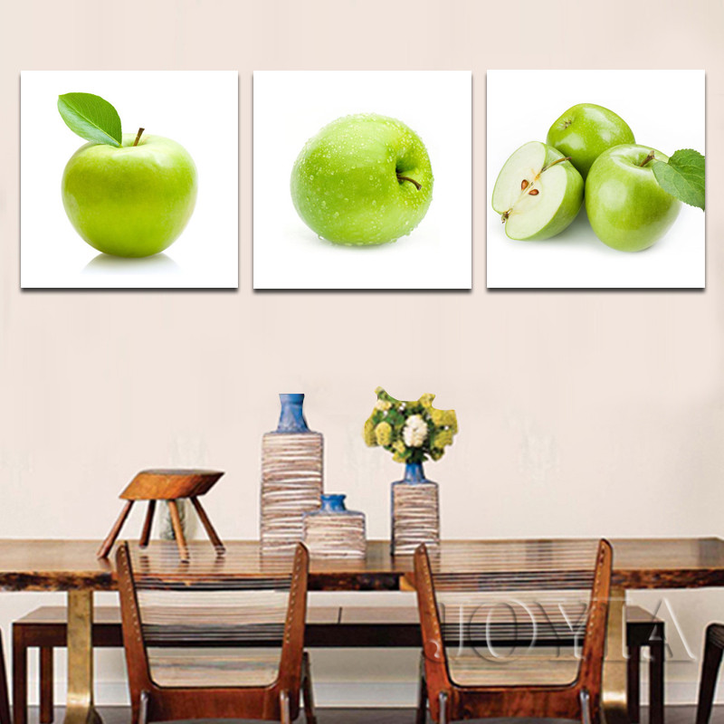 US $5.99 45% OFF|3 Piece Green Apple Modern Paintings Dinning Room Wall Art  Pictures Fresh Fruits Canvas Poster Living Kitchen Decor No Frame-in ...