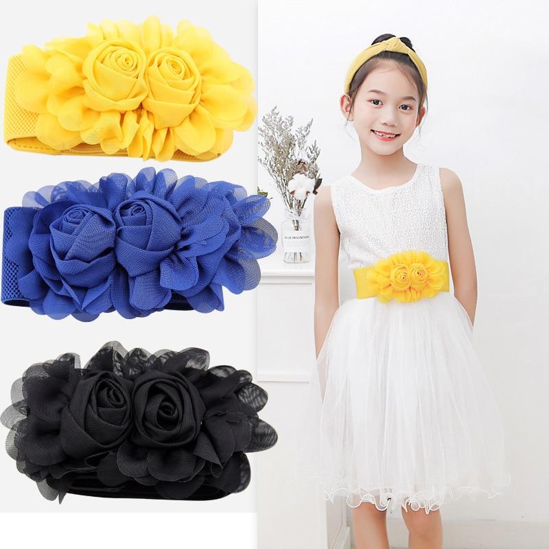 20109 New Wild Fashion Children's Elastic Belt Girls Double Rose With Skirt Stretch Princess Chiffon Girdle Wide Belt