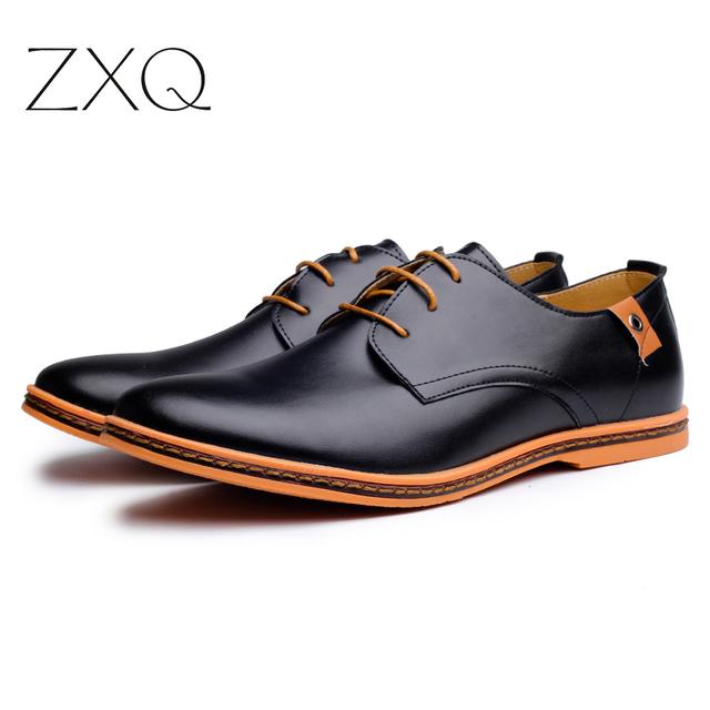 2019 Leather Casual Men Shoes Fashion Men Flats Round Toe Comfortable Office Men Dress Shoes Plus Size 38-48