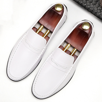 DESAI Summer Genuine Leather Men's Flats Wedding Party Black White Dress Shoes Slip On Pointed Toe Tassel Loafer Male Footwear